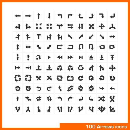 100 arrows icons set  Vector black pictograms for web, internet, computer, mobile apps, business presentations, navigation, transportation, interface design  direction, turn, left, right, move symbol