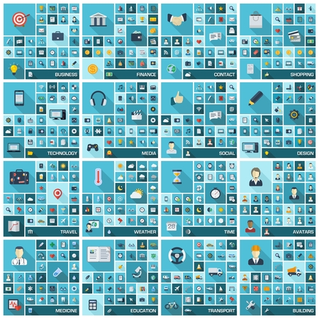 Ilustración de Large icons set  Vector illustration of flat colored pictogram with long shadows  Sign and symbols for business, finance, shopping, communication, education, medicine, media, technology, transport   - Imagen libre de derechos