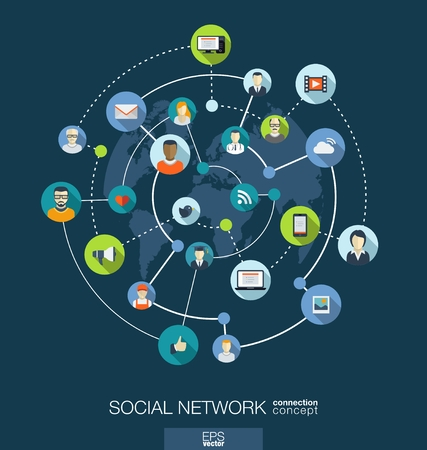 Illustration pour Social network connection concept. Abstract background with integrated circles and icons for digital, internet, media, connect, technology, global concepts. Vector infograph illustration. Flat design - image libre de droit
