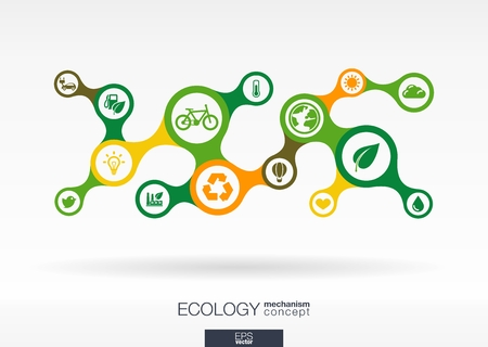Foto de Ecology. Growth abstract background with connected metaball and integrated icons for eco friendly, energy, environment, green, recycle, bio and global concepts. Vector interactive illustration. - Imagen libre de derechos