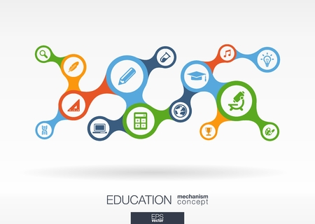 Education. Growth abstract background with connected metaball and integrated icons for elearning, knowledge, learn, analytics, network, social media and global concepts. Vector interactive illustration