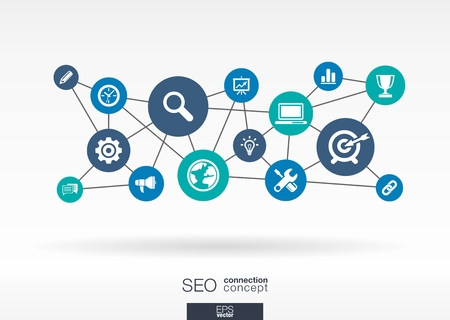 Illustration pour SEO network. Growth abstract background with lines, circles and integrate flat icons. Connected symbols for digital, network, connect, analytics, social media and market concepts. Vector interactive illustration. - image libre de droit