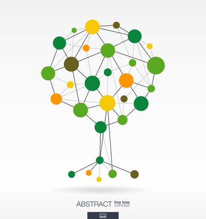 Illustration pour Abstract background with connected lines and integrated circles. Growth tree concept for communication, business, social media, eco, technology, network and web design. Vector illustration. - image libre de droit