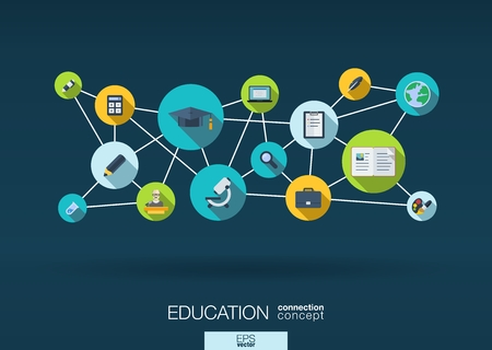 Illustration pour Education network. Growth abstract background with lines, circles and integrate flat icons. Connected symbols for elearning, knowledge, learn and global concepts. Vector interactive illustration - image libre de droit