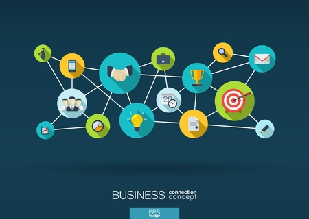 Business network. Growth background with lines, circles and integrate flat icons. Connected symbols for strategy, service, analytics, research, digital marketing, communicate concepts. Vector interactive illustration.