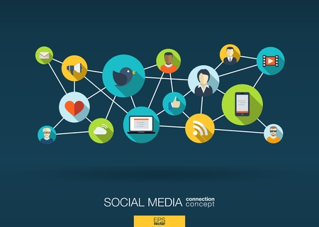 Illustration for Social media network. Growth background with lines, circles and integrate flat icons. Connected symbols for digital, interactive, market, connect, communicate, global concepts. Vector illustration - Royalty Free Image