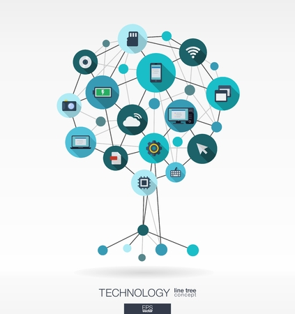 Foto de Abstract technology background with lines, connected circles and integrated flat icons. Growth tree (circuit) concept with mobile phone, technology, laptop, cloud computing, usb, pad and router icons. Vector interactive illustration. - Imagen libre de derechos