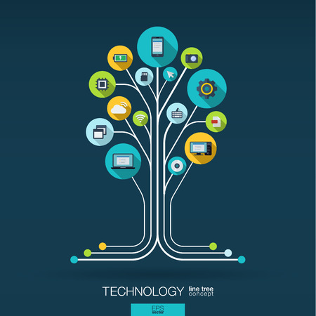 Ilustración de Abstract technology background with lines connected circles integrated flat icons. Growth tree circuit concept with technology cloud computing and router icons. Vector interactive illustration. - Imagen libre de derechos