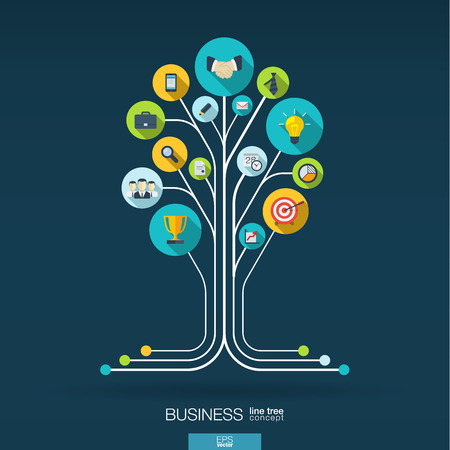 Abstract background with connected circles integrated flat icons. Growth tree concept for business communication marketing research strategy mission analytics. Vector interactive illustration