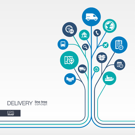 Illustration pour Abstract Delivery background connected circles integrated flat icons. Growth tree idea with logistic service shipping distribution transport market concepts. Vector interactive illustration - image libre de droit