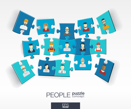 Illustration pour Abstract social background with connected color puzzles integrated flat icons. 3d infographic concept with people technology network and media pieces in perspective. Vector interactive illustration - image libre de droit