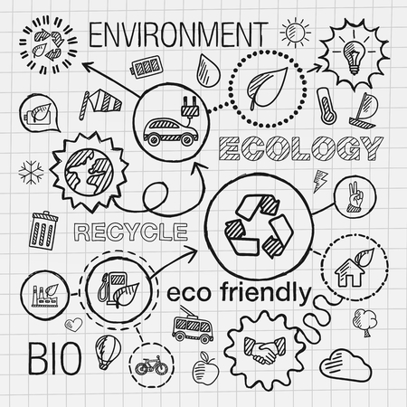 Ecology infographic hand draw icons. Vector sketch integrated doodle illustration for environmental eco friendly bio energy recycle car planet green concepts. Hatch connected pictograms set.