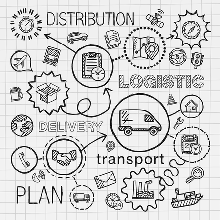 Logistic hand draw integrated icons set. Vector sketch infographic illustration with line connected doodle hatch pictograms on paper: distribution shipping transport services container concepts