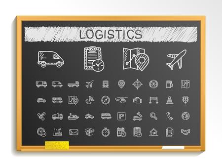 Foto de Logistic hand drawing line icons. Vector doodle pictogram set: chalk sketch sign illustration on blackboard with hatch symbols: ship truck mobile transport shipping. - Imagen libre de derechos