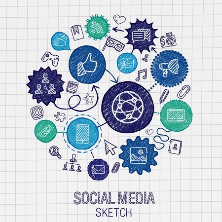 Photo for Social media hand drawing hatch icons. Vector doodle integrated pictogram set. Sketch infographic illustration on paper: internet digital market media connect technology global connect concept - Royalty Free Image