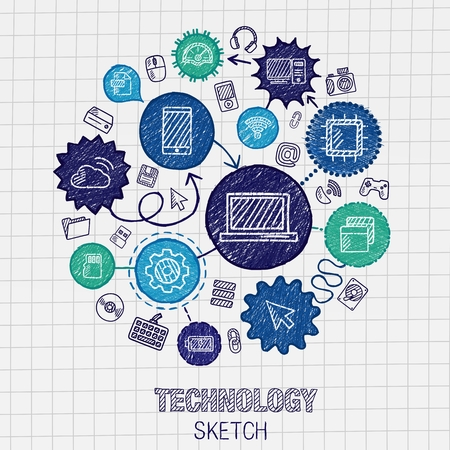 Technology hand drawing integrated sketch icons. Vector doodle interactive pictogram set. Connected infographic illustration on paper: digital internet network communicate media global concepts