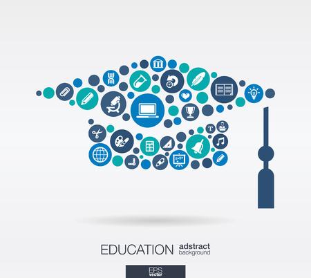 Illustration pour Color circles, flat icons in a graduation hat shape: education, school, science, knowledge, e learning concepts.  - image libre de droit