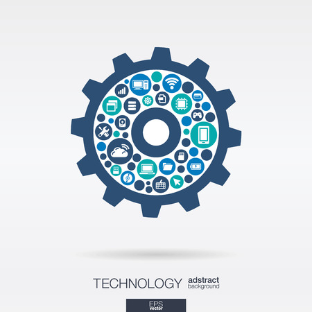 Foto de Color circles, flat icons in cogwheel shape: technology, cloud computing, digital mechanism concept.  - Imagen libre de derechos