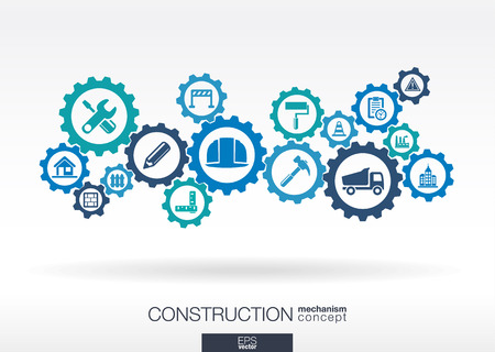 Illustration pour Construction mechanism. Abstract background with connected gears and integrated flat icons. Connected symbols for build, industry, architectural, engineering concepts. Vector illustration - image libre de droit