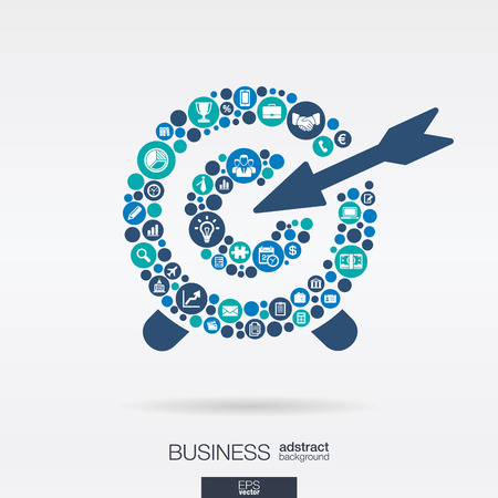 Color circles, flat icons in a target shape: business, marketing research, strategy, mission, analytics concepts. Abstract background with connected objects. Vector interactive illustration.