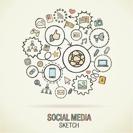Illustration pour Social mediahand drawing hatch icons. Vector doodle integrated pictogram set. Sketch infographic illustration on paper: internet, digital, marketing, media, connect, technology, global connected concepts - image libre de droit