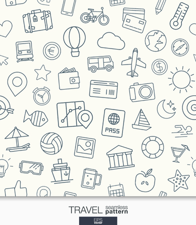 Illustration for Travel wallpaper. Black and white trip seamless pattern. Tiling textures with thin line web icons set. Abstract background for mobile app, website, presentation. - Royalty Free Image