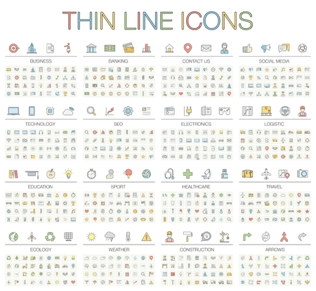 Illustration for illustration of thin line icons for business, banking, contact, social media, technology, seo, logistic, education, sport, medicine, travel, weather, construction, arrow. Color symbols set. - Royalty Free Image