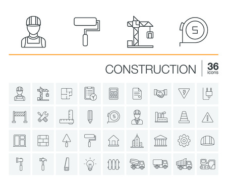 Ilustración de Vector thin line rounded icons set and graphic design elements. Illustration with construction, industrial, architectural, engineering outline symbols. Home repair tools, worker, building pictogram - Imagen libre de derechos