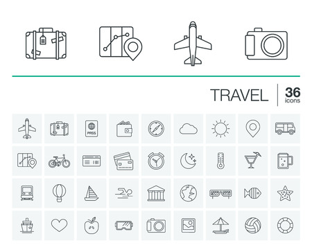 Photo pour thin line rounded icons set and graphic design elements. Illustration with travel, tourism outline symbols. Planning, summer, vacation, airplane, map, luggage, sunglasses linear pictogram - image libre de droit