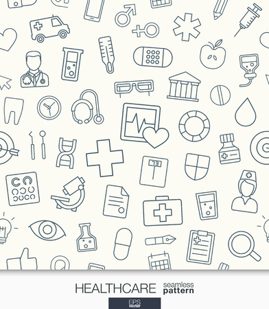 Vektor für Healthcare wallpaper. Medical seamless pattern. Tiling textures with thin line web icons set. Abstract health care and medicine background for mobile app, website, presentation. - Lizenzfreies Bild