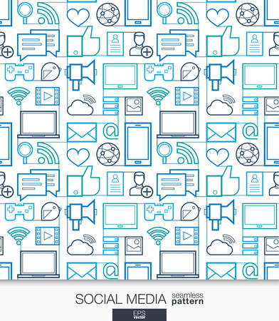 Illustration pour Social Media wallpaper. Network communication seamless pattern. Tiling textures with integrated thin line web icons set. Vector illustration. Abstract background for mobile app, website, presentation - image libre de droit