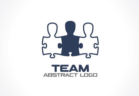 Illustration pour Abstract logo for business company. Corporate identity design element. Social Media, network Logotype idea. People connect in puzzle shape, teamwork, partnership, team concept. Colorful Vector icon - image libre de droit