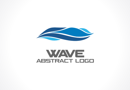 Ilustración de Abstract logo for business company. Corporate identity design element. Eco ocean, nature, swimming pool, spa, aqua swirl Logotype idea. Water wave, blue sea square concept. Colorful Vector line icon - Imagen libre de derechos