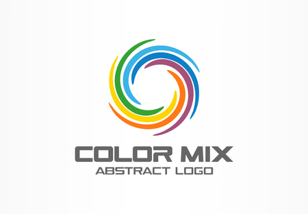 Illustration pour Abstract business company logo. Corporate identity design element. Color circle segments mix, round spectrum logotype idea. Multicolor art palette, paint swirl, rainbow concept. Colorful Vector icon - image libre de droit
