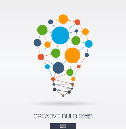 Photo pour Education integrated thin lines and circles. Idea, solution in light bulb shape. Digital network concept. Connected polygonal system. E-learning, graduation, business school abstract background. Vector illustration. - image libre de droit