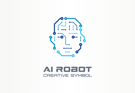 Ilustración de AI robot technology creative symbol machine concept. Digital bionic cyborg face abstract business future. Smart humanoid, android, vr icon. Corporate identity, company graphic design - Imagen libre de derechos