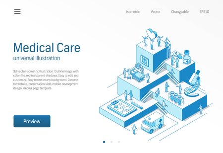 Illustration for Medical Care. Doctor and nurse healthcare teamwork. Coronavirus patient treatment isometric line - Royalty Free Image