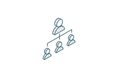 Hierarchy illustration isometric icon. 3d vector illustration. Isolated line art technical drawing. Editable stroke