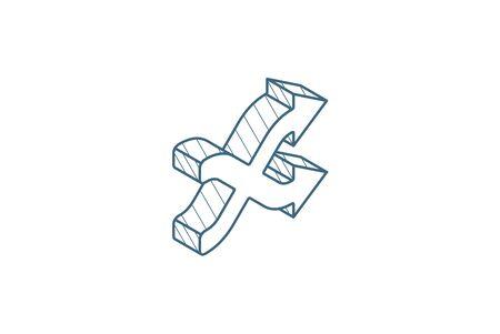 Illustration pour shufle, mix, random, intersecting arrow isometric icon. 3d vector illustration. Isolated line art technical drawing. Editable stroke - image libre de droit
