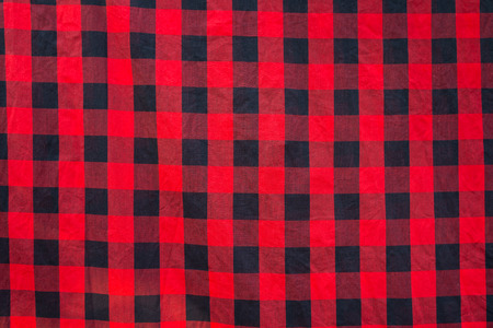Lumberjack plaid seamless pattern, black and red tablecloth checked pattern