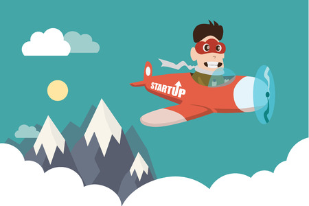 Character design of business man with cloud mask control airplane. Illustration of entrepreneurship, start up business man concept.