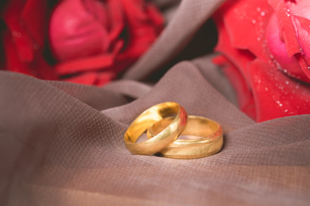 Photo pour Gold wedding rings with red roses background. Engagement concept. - image libre de droit
