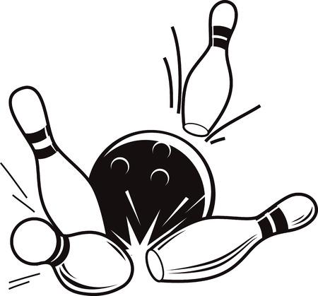 Ilustración de Vector black and white illustration of bowling. Bowling ball knocks down pins. - Imagen libre de derechos