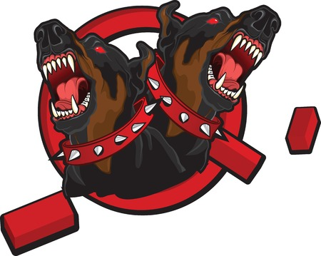 Illustration on the theme of breaking taboos. Tattoo style image of two dobermans braking prohibition sign.