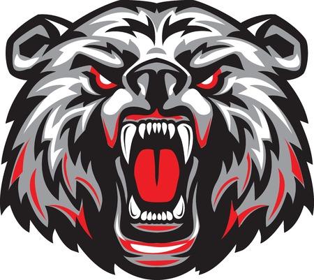 Ilustración de Vector illustration of furious angry face of terrible bear with open mouth and terrible teeth. - Imagen libre de derechos