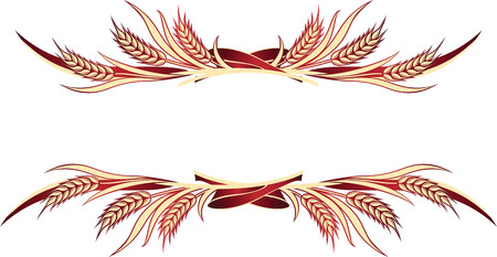 Illustration for Vector illustration of gold wheat ears. Can be used as frame, corner or border design element. - Royalty Free Image