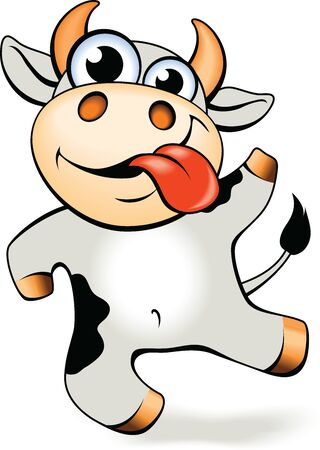 Illustration for Funny cartoon crazy mad and happy cow vector illustration.   - Royalty Free Image