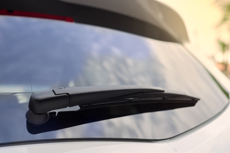 The white car rear wipers