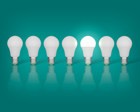 Photo for 7 light bulbs on a blue background, one had an idea - Royalty Free Image
