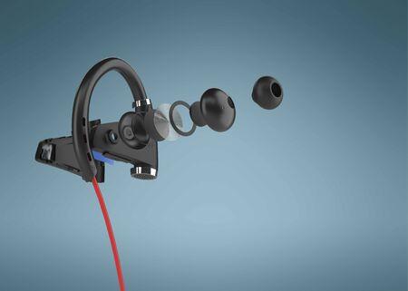 Photo pour Wireless headphones 3d render. - image libre de droit